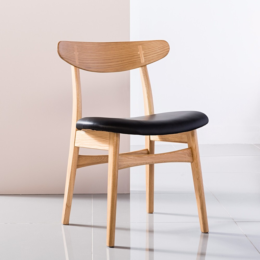 astrid solid oak dining chair black pu leather seat icon by design