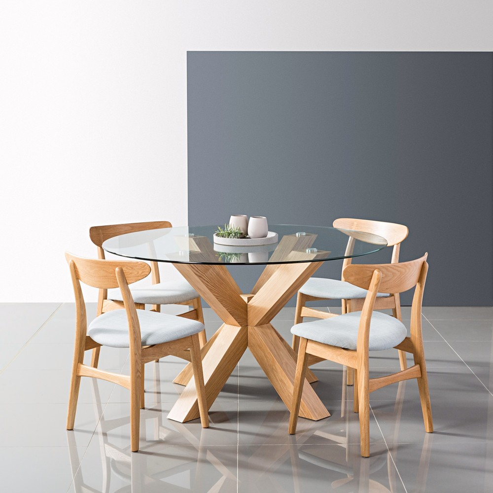 Oscar Round Dining Table Glass Solid Oak 130cm