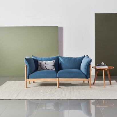 Olivia 2 Seat Sofa - Solid Oak - Ocean Blue - Linen Blend