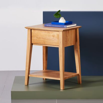 Jolanda 1 Drawer Bedside Table - Solid Oak - 50x40x65cm