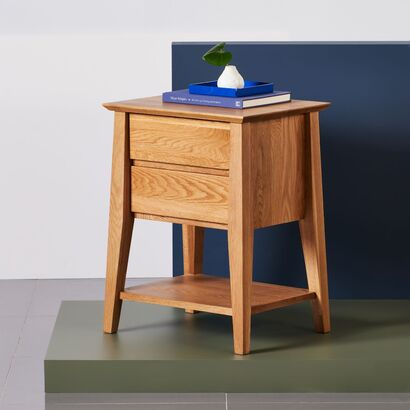 Jolanda 2 Drawer Bedside Table - Solid Oak - 50x40x65cm