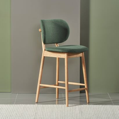 Stefan Solid Oak Bar Stool - Forest Green Fabric Seat