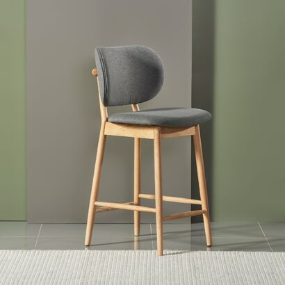 Stefan Solid Oak Bar Stool - Graphite Grey Fabric Seat