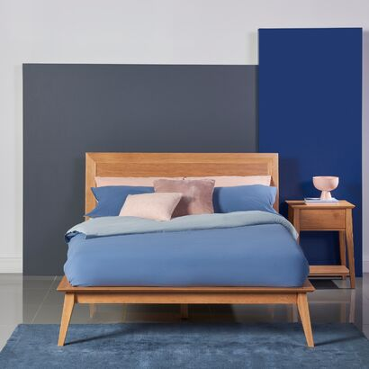 Jolanda Double Size Bed Frame - Solid Oak