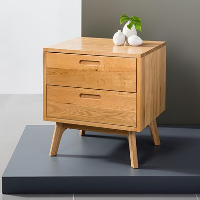 Maximus 2 Drawer Bedside Table - Solid Oak - 55x45x60cm - Angled Legs