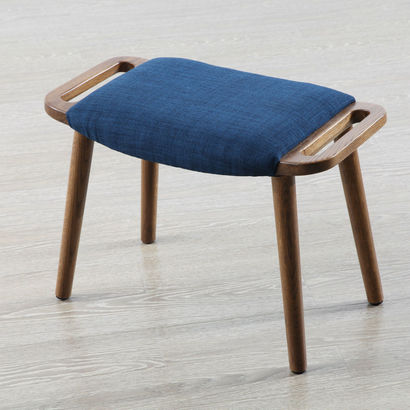 Franz Footrest Stool - Solid Oak w Cinnamon Stain - Midnight Blue Fabric