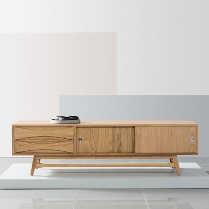 Arne Vodder Entertainment Unit - Solid Oak - 180x45x50cm - Reversible Doors