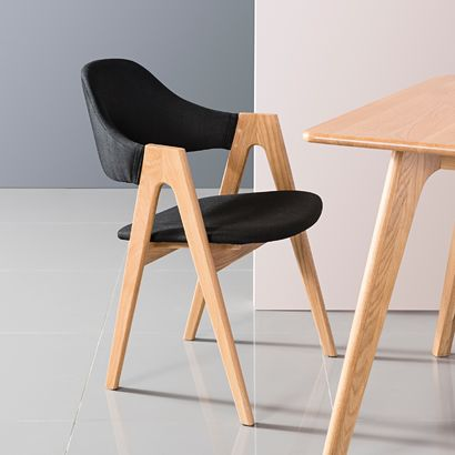 Nestor Solid Oak Dining Chair - Black Fabric