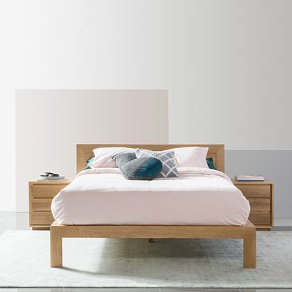 Anya Queen Size Bed Frame - Solid Oak - 213x175cm