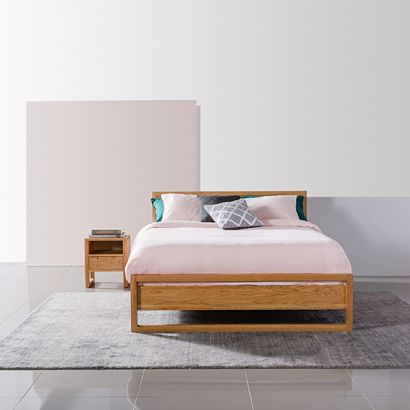 Bruno Queen Size Bed Frame - Solid Oak - 213x162cm
