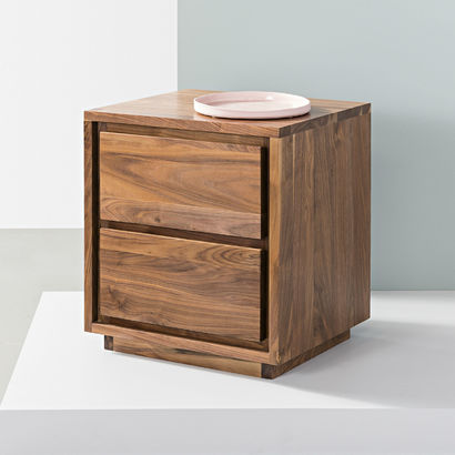 Tobias 2 Drawer Bedside Table - Solid Walnut - 45x45x50cm