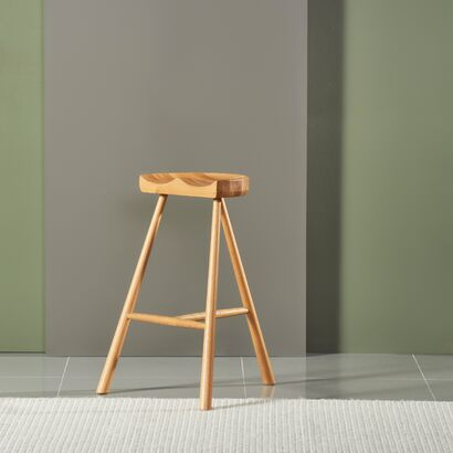 Jensen Bar Stool - Solid Oak - 70cm high