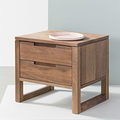 Bruno 2 Drawer Bedside Table - Solid Walnut - 50x42x47cm