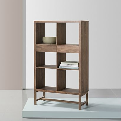 Jonas 2x3 Display Shelf with Drawers - Walnut - 75x33x128cm