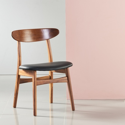 Astrid Solid Walnut Dining Chair - Black Top Grain Leather Seat