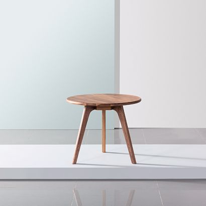 Magnus Round Side Table - Solid Walnut - 60cm Diameter x 50cm