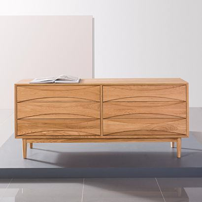 Arne 2x3 Drawer Chest - Solid Oak - 158x45x72cm