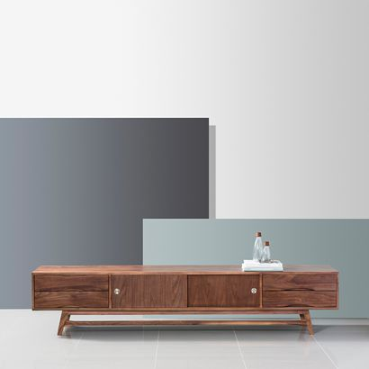 Svend Entertainment Unit - Solid Walnut - 240x45x50cm - Reversible Doors