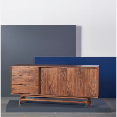 Svend Sideboard - Solid Walnut - 180x45x80cm - White/Grey Doors
