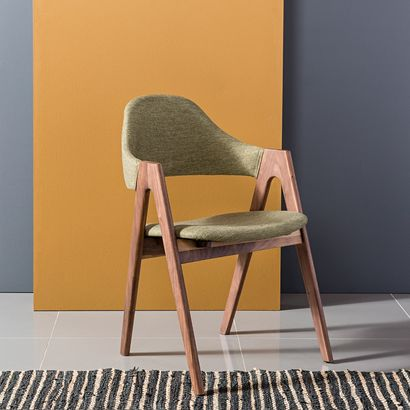 Nestor Solid Walnut Dining Chair - Sage Green Fabric