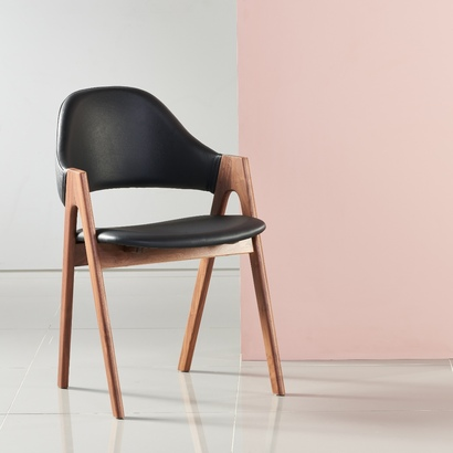 Nestor Solid Walnut Dining Chair - Black Top Grain Leather Seat