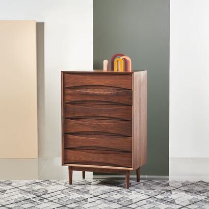 Arne 6 Drawer Tallboy - Solid Walnut - 80x45x120cm