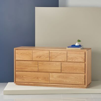 Tobias 9 Drawer Chest - Solid Oak - 160x45x85cm