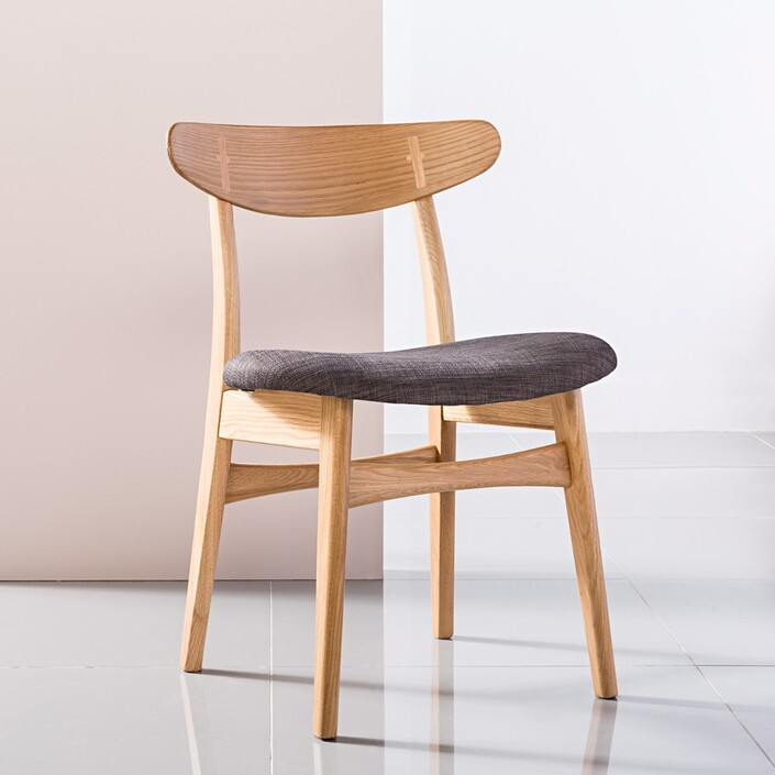 Astrid Solid Oak Dining Chair - Fabric Seat