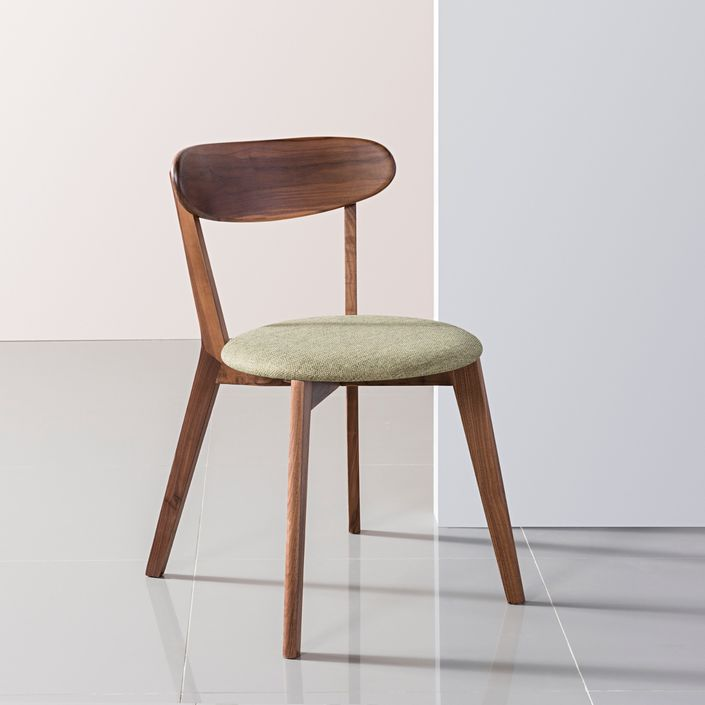 Henrik Solid Walnut Dining Chair - Fabric Seat