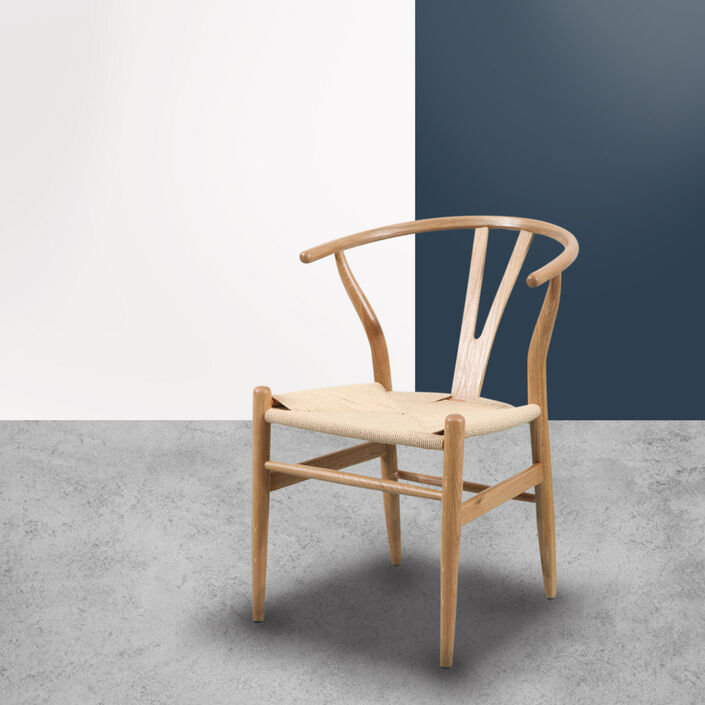 Hans Wishbone Dining Chair - Solid Oak w Cord Seat - Y Back Replica