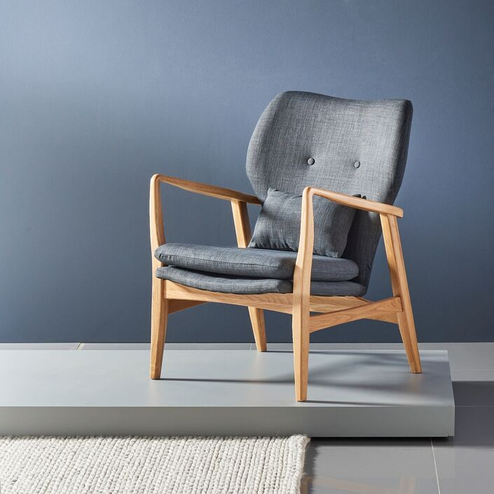 Franz Armchair - Solid Oak - Dark Grey Fabric