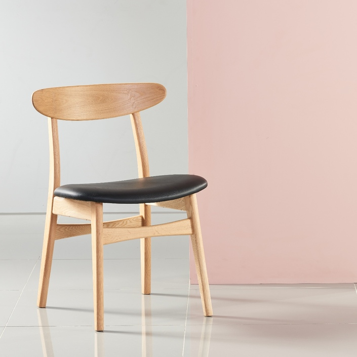 Astrid Solid Oak Dining Chair - Black Top Grain Leather Seat