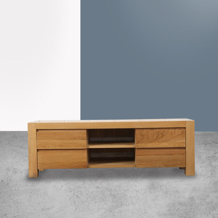 Anya 4 Drawer Entertainment Unit - Solid Oak - 150x45x50cm