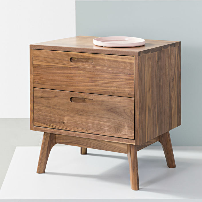 Maximus 2 Drawer Bedside Table - Solid Walnut - 55x45x60cm - Angled Legs