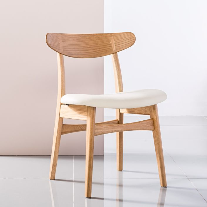 Astrid Solid Oak Dining Chair - Cream Top Grain Leather Seat