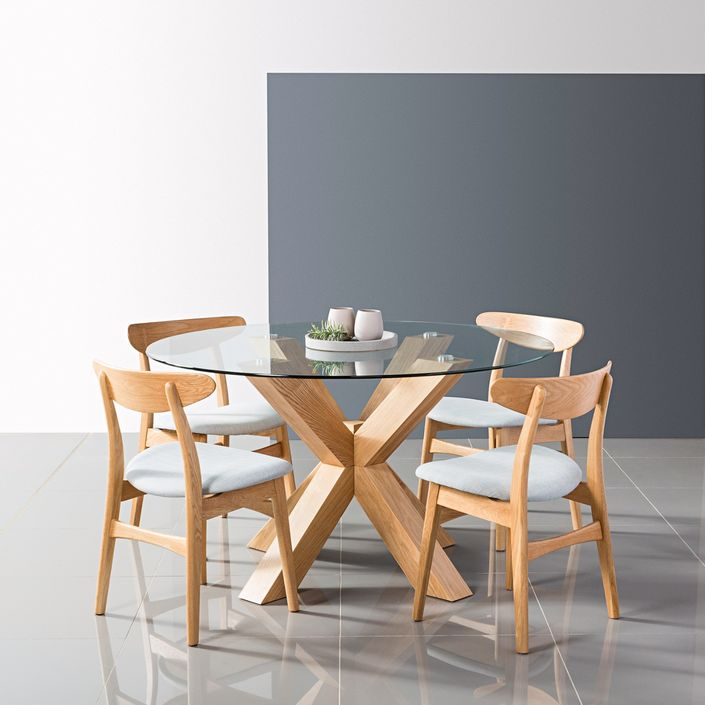 Solid Wood Round Dining Tables Oscar, Round Glass And Oak Dining Table