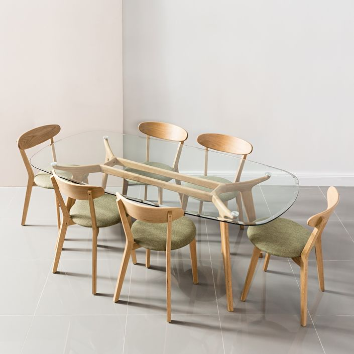 Frederik Dining Table - Glass + Solid Oak - 200x100cm