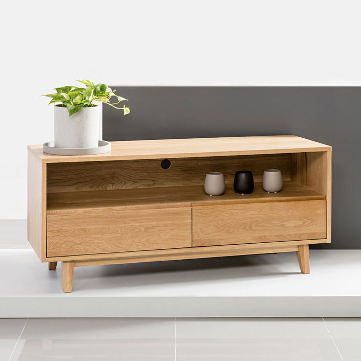 Bastian Entertainment Unit - Solid Oak - 130x45x59cm