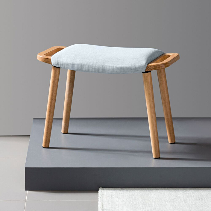 Franz Footrest Stool - Solid Oak - Pale Blue Fabric