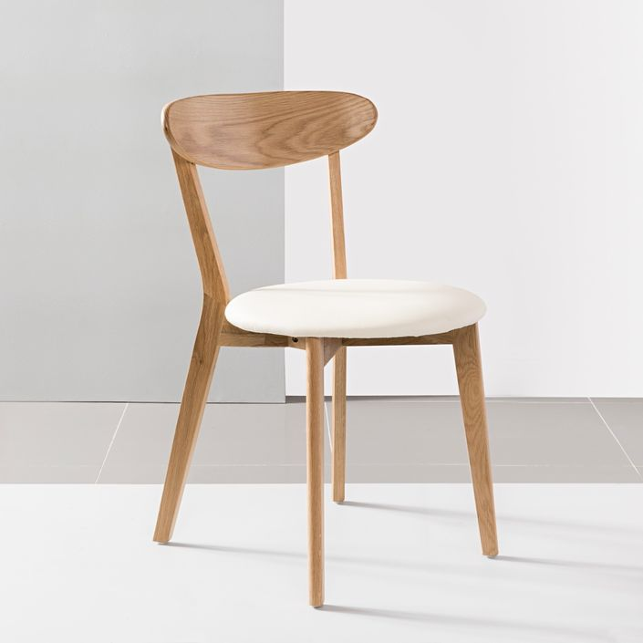 Henrik Solid Oak Dining Chair - Cream Top Grain Leather Seat