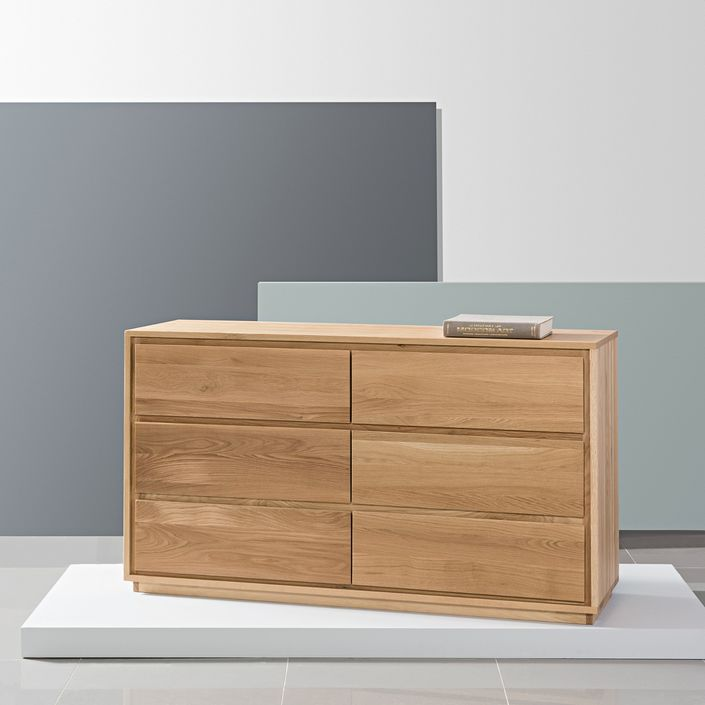 Tobias 6 Drawer Chest - Solid Oak - 150x45x85cm