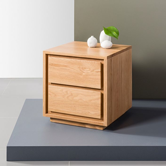Tobias 2 Drawer Bedside Table - Solid Oak - 45x45x50cm
